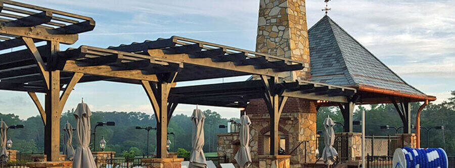 Heavy Timber Pool Pavilion & Trellis-Pergola