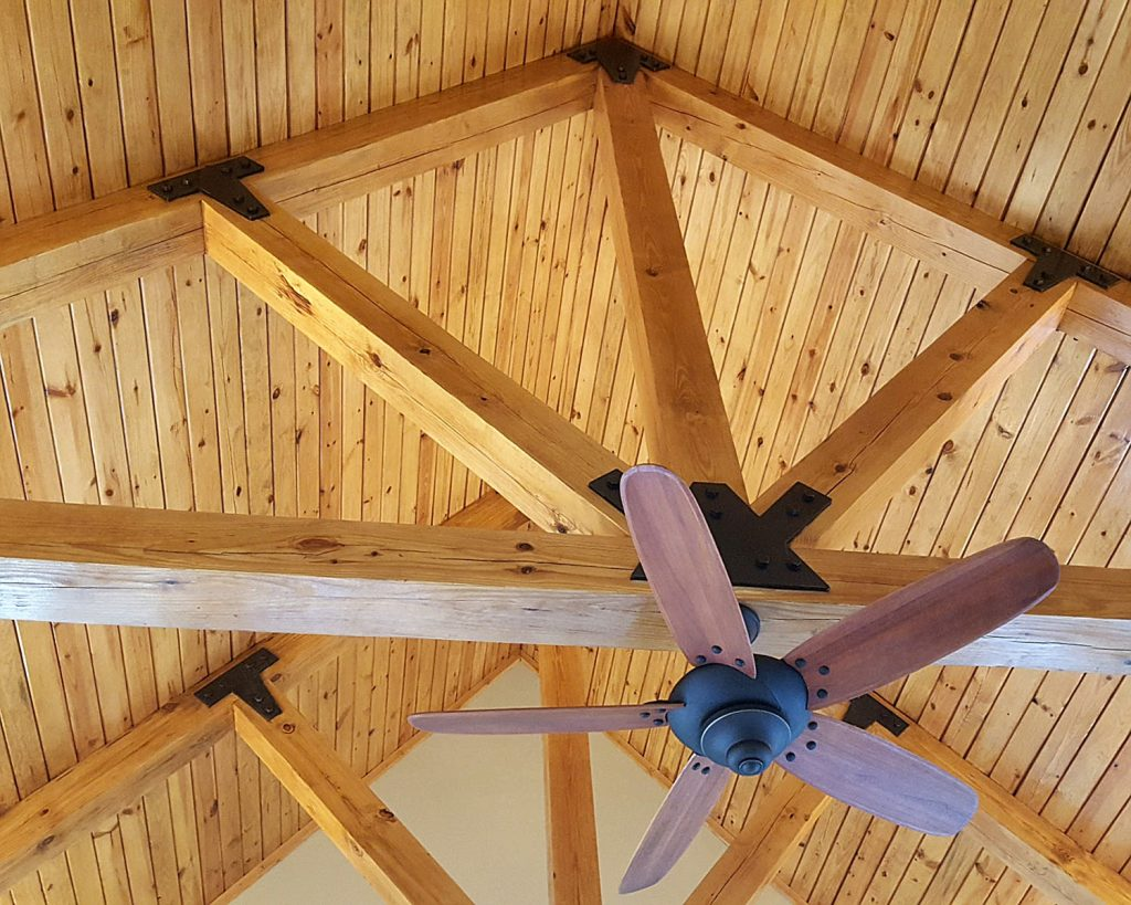 Timber Frame Ceiling Fan : Heavy timber trusses structural and decorative